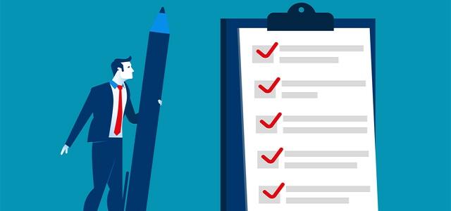 Businessman checklist on the clipboard. Concept business illustration. Vector